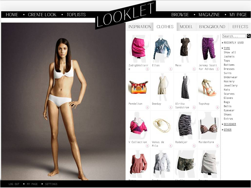 Looklet.com Virtual Fashion Styling Website – the fashion game for ...